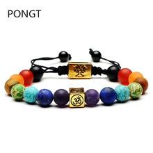 Hot Colorful square Life tree natural stone bracelet 7 chakra Healing crystal Bracelets Yoga bead Balancing  Braided bracelets