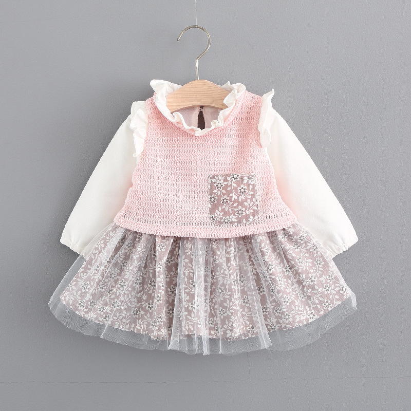 Baby Girls Dresses 0-3 Years Old 2017 New Autumn Fashion Style Girls Dress Cotton Mesh Grey Pink Color A025 Baby Dresses