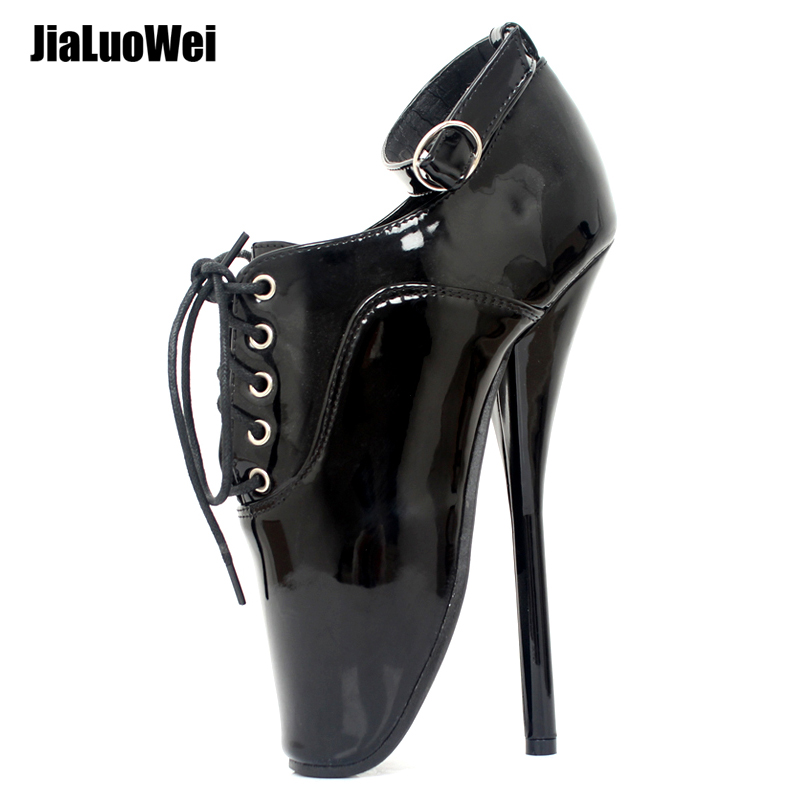 jialuowei Fetish Ballet Pumps Women 18cm 7 inch Ultra High Spike Heel Black Lace Up Pointed Toe Sexy Thin Heel Ankle Shoes
