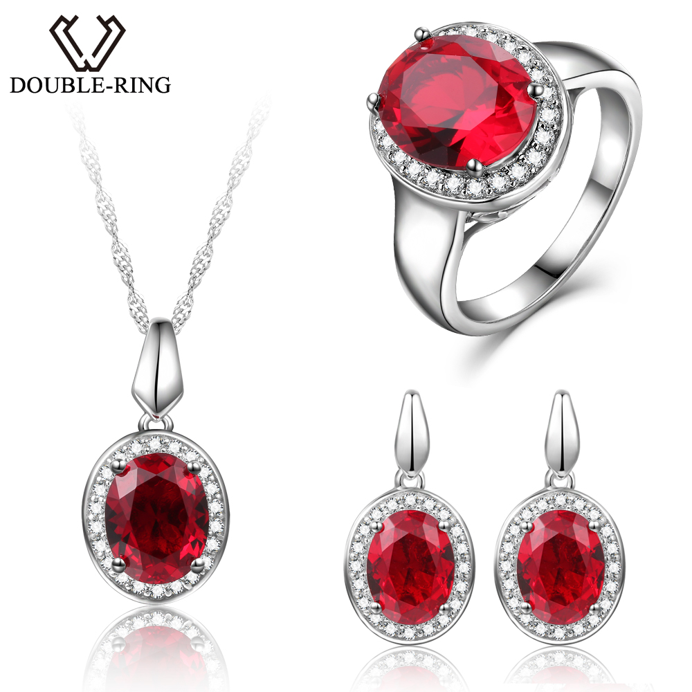 DOUBLE-R Wedding Jewelry Sets Created Oval Ruby Gemstone Zircon Ring Pendant Necklace 925 Sterling Silver Earrings for women a suit of chic faux ruby zircon geometric necklace and earrings for women
