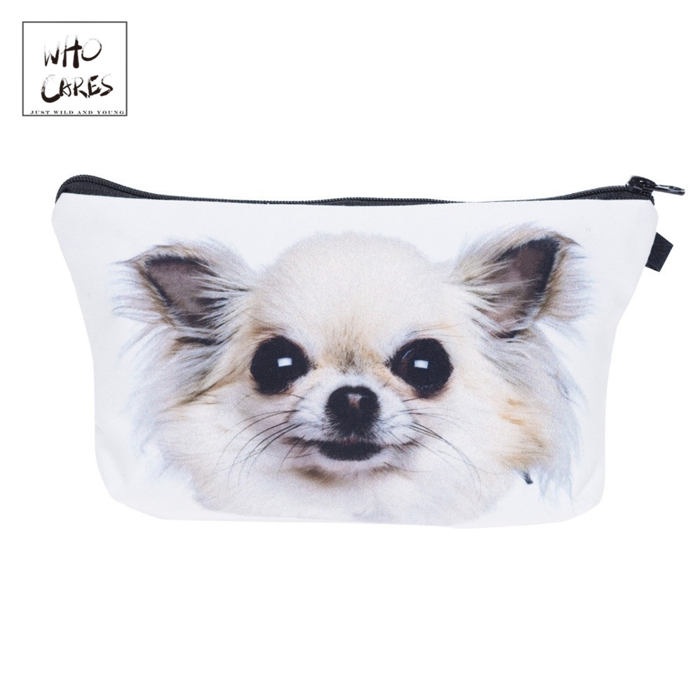Who Cares Chihuahua Dog 3D Printing Makeup Bags Cosmetics Pouchs For Travel Ladies Pouch