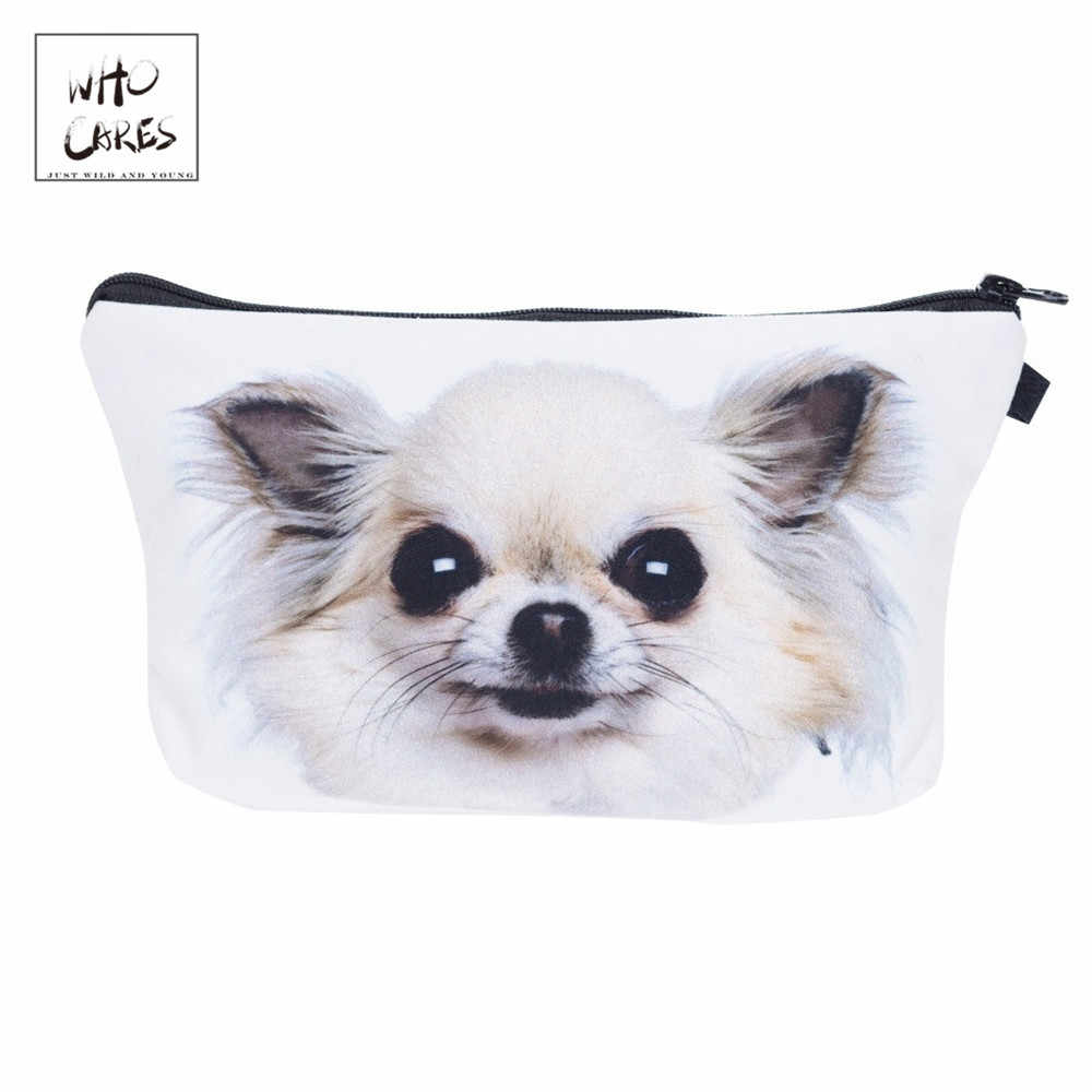 Who Cares Chihuahua Dog 3D Printing Makeup Bags Cosmetics Pouchs For Travel Ladies Pouch Women Cosmetic Bag