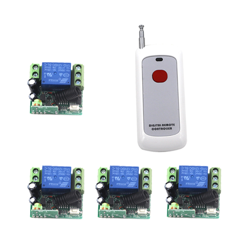 Brand New DC 12V 10A Relay 1CH Wireless RF Remote Control Switch 1 Transmitter 4  Receiver Working Modes Self-locking 4064 new control relay cad series cad32 cad32ddc cad 32ddc 96v dc