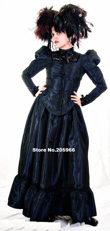 CUSTOM MADE Plus Size Steampunk Taffeta and Black Lace Victorian ...