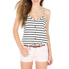 Ladies tops women 2017 fashion sexy fitness summer tank top black and white stripes blouse teen girls t shirt blouses