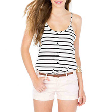 Ladies tops women 2017 fashion sexy fitness summer tank top black and white stripes blouse teen