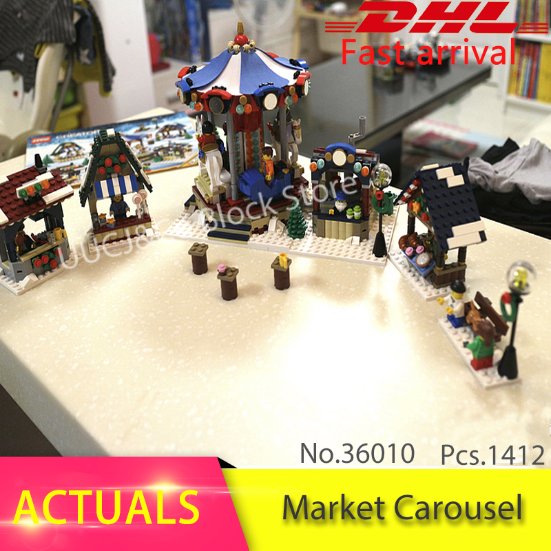 LEPIN 36010 1412pcs Christmas series Winter Village Market Carousel Model Building Blocks Bricks Toys For Children 10235 lepin 36010 genuine creative series the winter village market set legoing 10235 building blocks bricks educational toys as gift