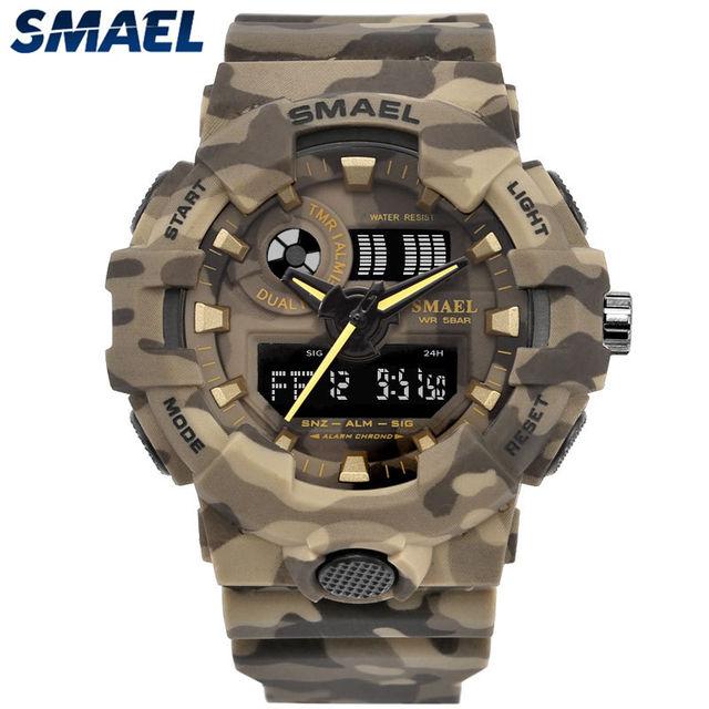 SMAEL Brand Fashion Camouflage Military Digital Quartz Watch Men Waterproof Shock Outdoor Sports Watches Mens Relogio Masculino