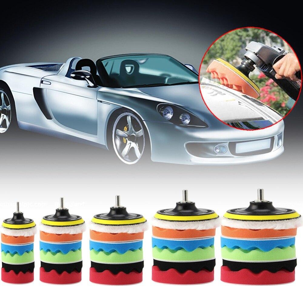 7Pcs 3 4 5 6 7 Car Polisher Polishing Waxing Buffing Woolen Sponge Pads Kit