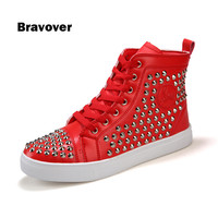 Rivets Studded Red Hip Hop Street Men Casual Shoes Male High Top Round Toe Shoes Fashion