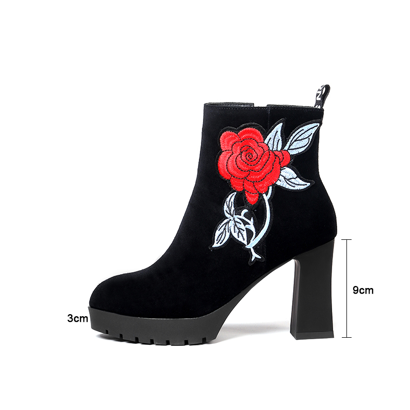 Moda Plataforma Cálido Negro Para Mujeres Tobillo Altos Zip Gamuza Kcenid Corto Las Tacones Invierno Cuero Botas Zapatos Bordado Plush dqHwwP