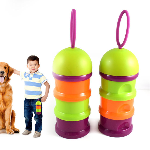 Pet Dog Food Container 3 Layers Portable Outdoor Sport Travel Dog Cat  Snacks Food Storage Box