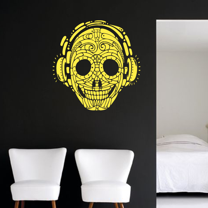 new design art cheap home decoration vinyl music skull wall sticker ...