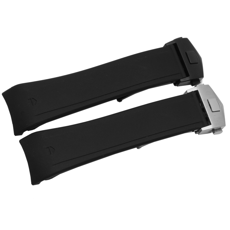 Rubber Watchbands 22mm Sport Watch Bands Black Diving Silicone Band Strap Stainless Steel Replacement Silver and Black buckle рюкзаки альмед эко рюкзак emmet хлопок