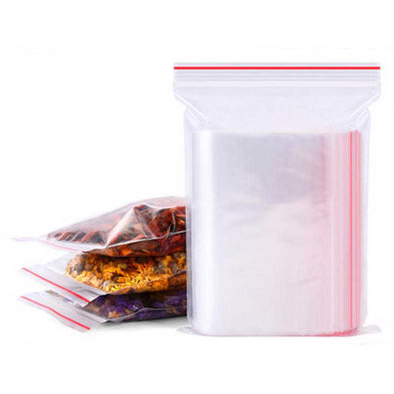 100pcs Plastic Zip Lock Ziplock Bags Clear Food Storage Package Small Jewelry Packing Reclosable Poly Zip Bag Thick Dropshipping