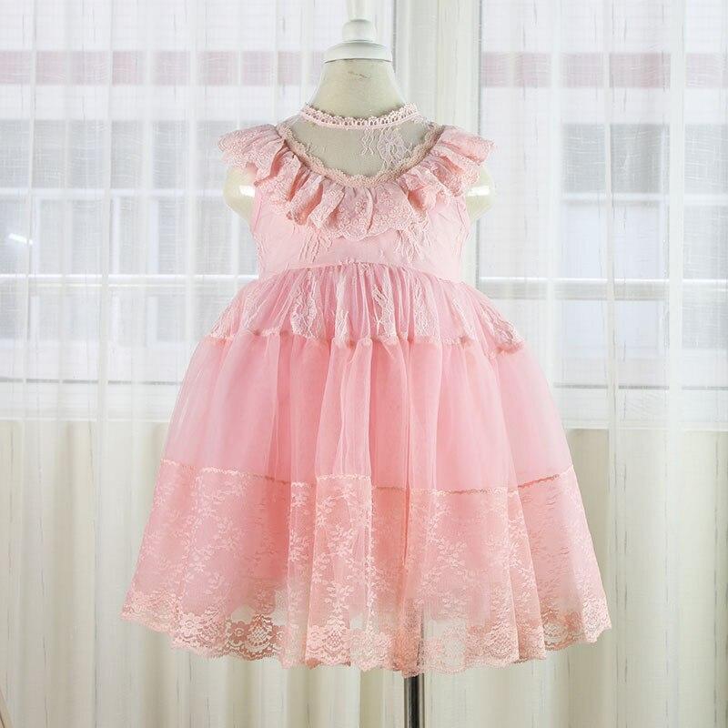 2017 vestido de encaje de las niñas tutu rosa volantes bordados - Ropa de ninos - foto 3