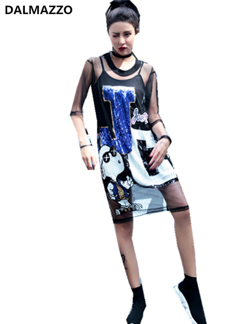 ca34bce846c2 2018 New Fashion Cut Cartoon Design Sequined Women Girls Students Long T- Shirt Loose Dresses Mesh Dress+Spaghetti Strap Lining