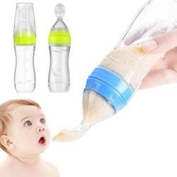 Marca 2-em-1 Apertar Silicone Colher Garrafa Squeeze Silicone Colher Baby Food Feeder Chupeta Auto Alimentação Alimentos