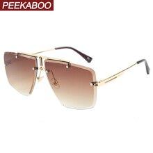 Peekaboo men rimless sunglasses square frameless sun glasses