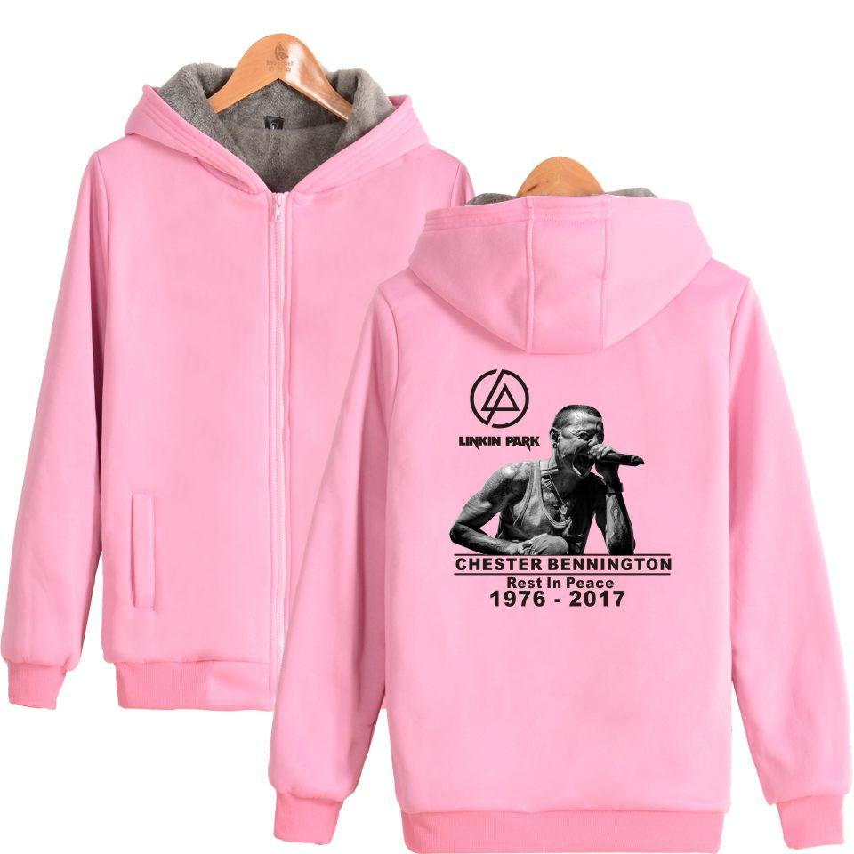 LUCKYFRIDAYF 2017 winter Sweatshirt hoodie Linkin Park R.I.P Chester Fans Club Zipper Thick Warm Hoodies Women oversized hoodies