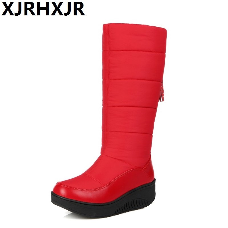 XJRHXJR Size 35-40 Ladies Snow Boots Wedges Heels Slip On Women Winter Boots Fur Inside Mid Calf Boots Sweet Woman Down Botas sweet women s mid calf boots with slip on and suede design