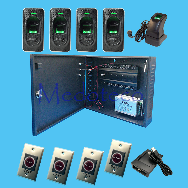 цена на Inbio460 Four Door fingeprint access control SystemKit+12V5A battery function power supply+ FR1200 Reader +No touch Exit Button