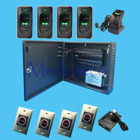 Inbio460 Four Door fingeprint access control SystemKit+12V5A battery function power supply+ FR1200 Reader +No touch Exit Button