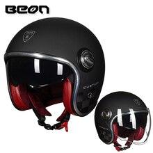 BEON B108A Moto Rcycle Mũ Bảo Hiểm Beon 3/4 Mở Mặt Ống Kính Kép Che Vintage Mũ Bảo Hiểm Retro Casque Moto Casque Casco Capacete