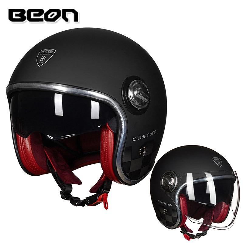 BEON B108A motorcycle helmet beon 3/4 open face dual lens visor vintage helmets retro casque Moto Casque Casco Capacete