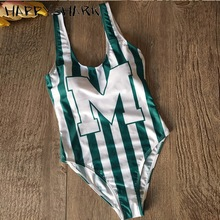 цены HAPPYSHARK Sports Green White Stripe Swimwear 2019 Sexy Girls One Piece Swimsuit Letter Print Bodysuit Summer Bikini Beachwear