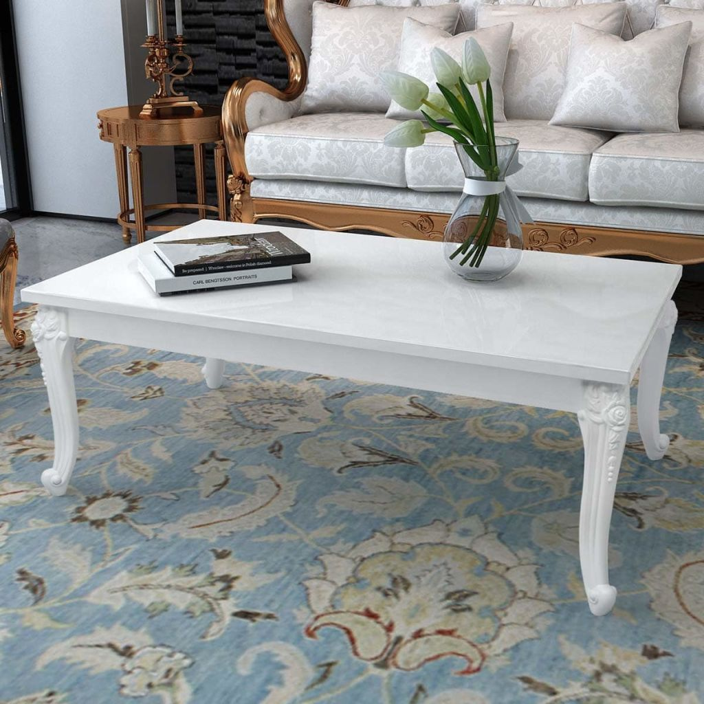 "Vidaxl High Gloss Coffee Table White: VidaXL Coffee Table 47.2""x27.6""x16.5"" High Gloss White-in"
