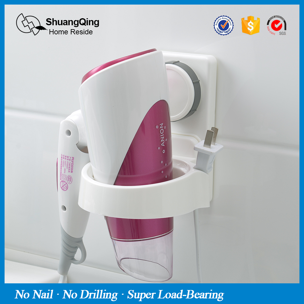 No drill bathroom accessories - Suction Cup Hair Dryer Rack Wall Mounted Bathroom Bath Accessories Hair Dryer Holder Plastic Holder