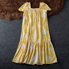 Flower Print Yellow Loose Mid Calf Dress Women Square Short Sleeve Ruffle Hem Vestidos Elegant Square Collar New Womens Dresses недорого