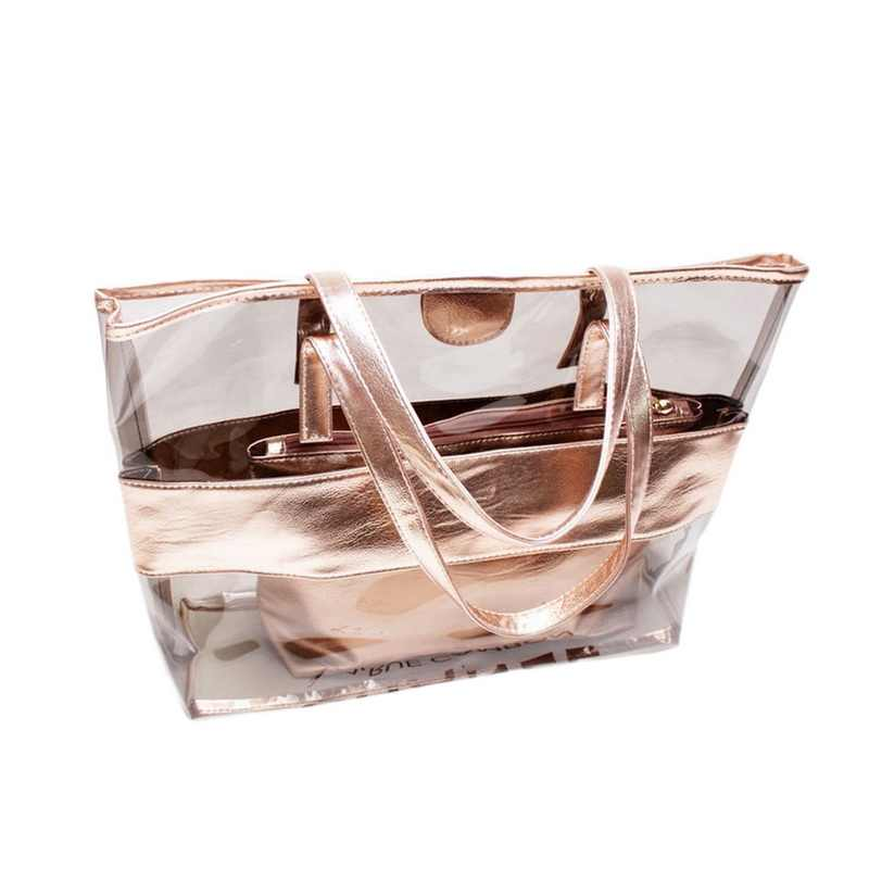 Laamei 2Pcs/Set Women's Shoulder Handbags  Transparent Shoulder Bags Jelly Candy Beach Handbags Women Bags