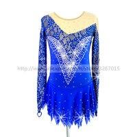 Фигурное катание платье заказной конкурс Катание на коньках юбка для девочки Для женщин голубой кружевной ткани Блестящий горный хрусталь