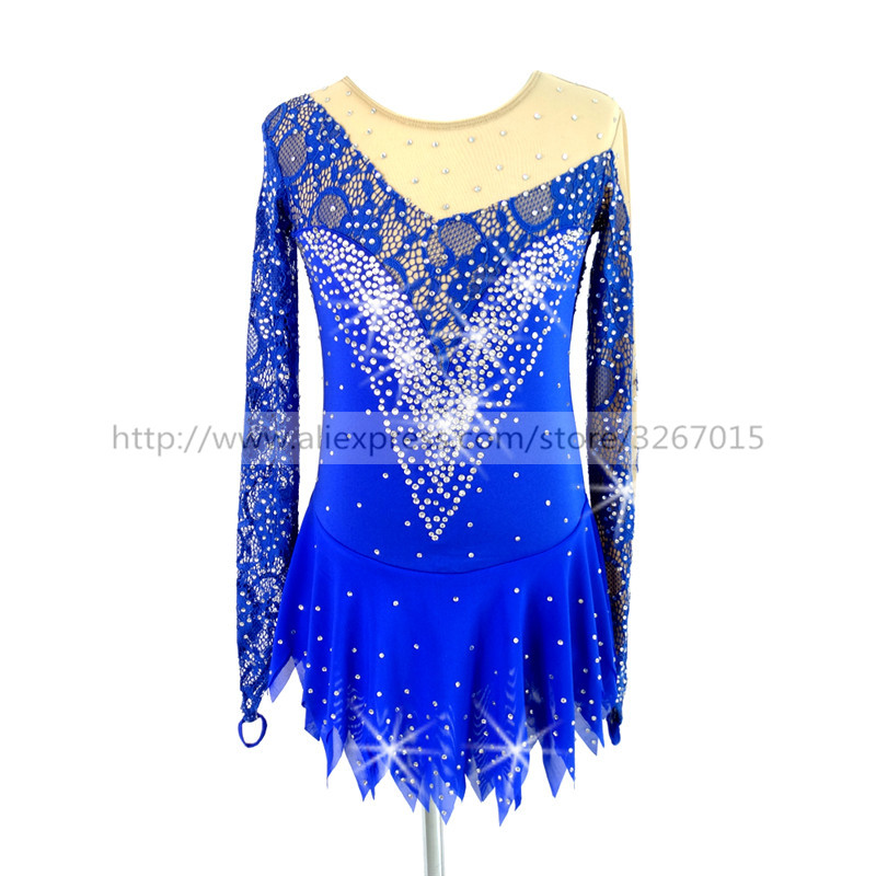 Figure Skating Dress Customized Competition Ice Skating Skirt for Girl Women Blue lace fabric Shiny rhinestone pattern