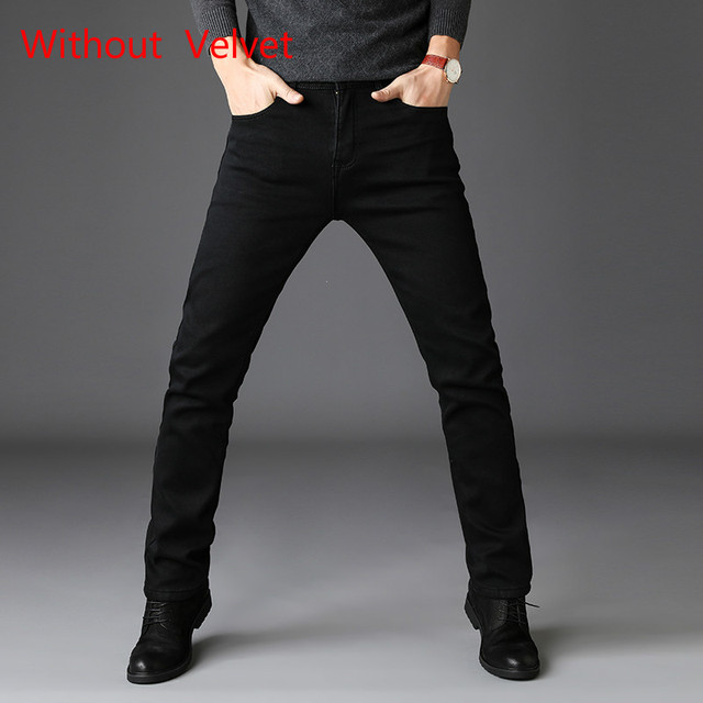 2020 New Trousers Grey Fleece Men Clothes  Black Elasticity Warm Thinker Winter Jeans Busines With Or No Velvet 2 Model Jeans 5