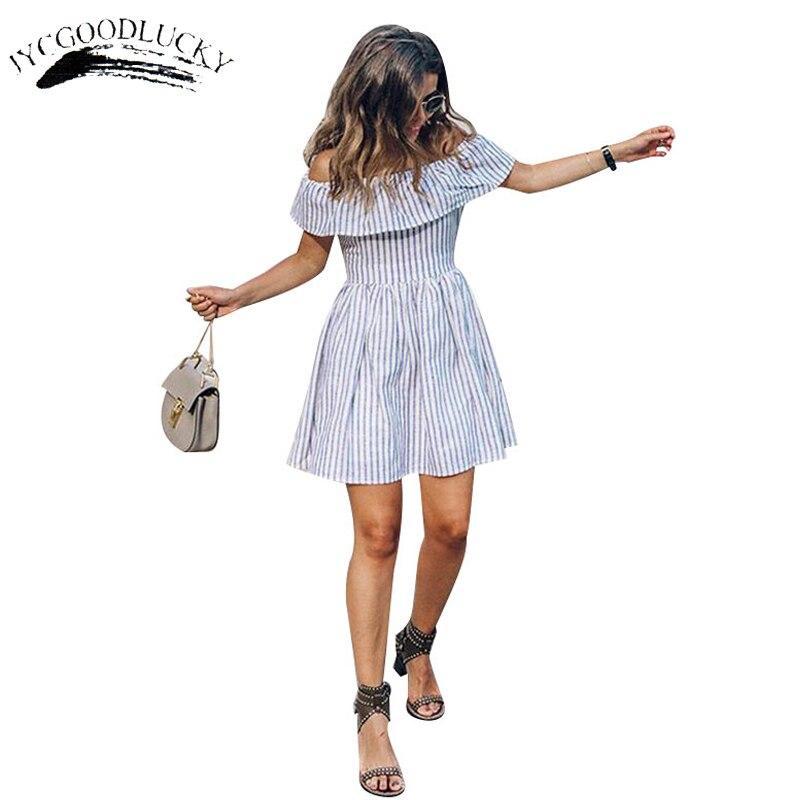 858 35 De Descuento2017 Vestido De Mujer Elegante Con Volantes A Rayas Vestidos Sencillos Slash Cuello Vacaciones Vestido De Playa Para Mujeres