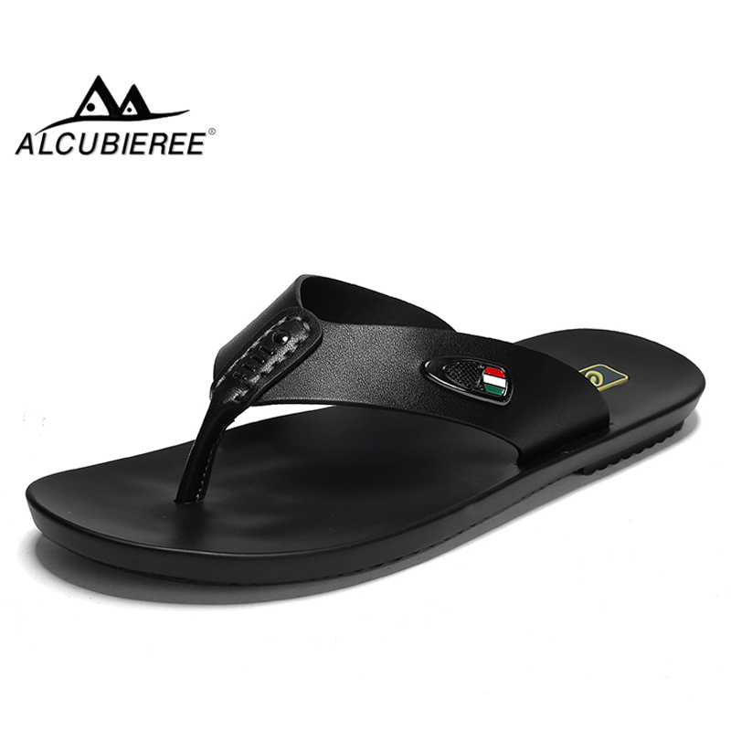 ALCUBIEREE Summer Mens Breathable Sandals for Man Casual Flip Flops Genuine Leather Slides Slippers Outdoor Beach Shoes Homme