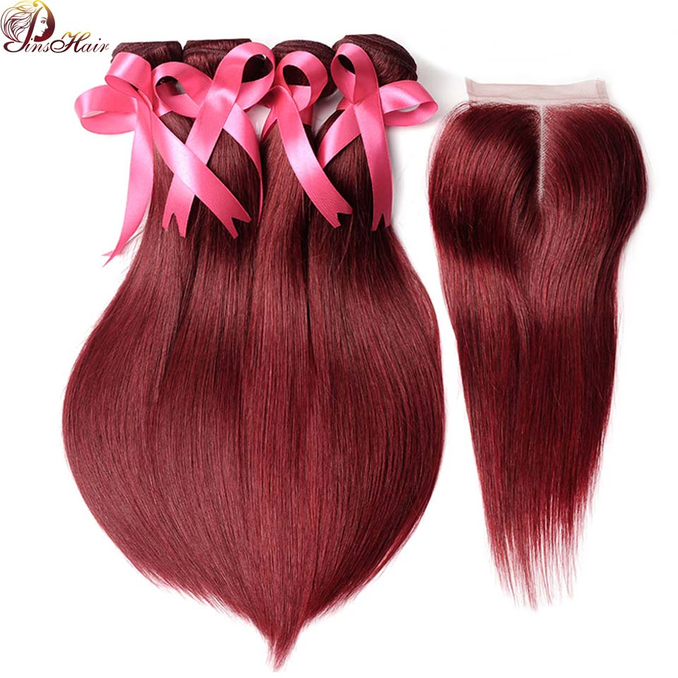99J Peruvian 4 Bundles Burgundy Red Straight Hair Bundles With Closure 5 Pcs/Lot Human Hair Pinshair Pre-Colored Non Remy Hair