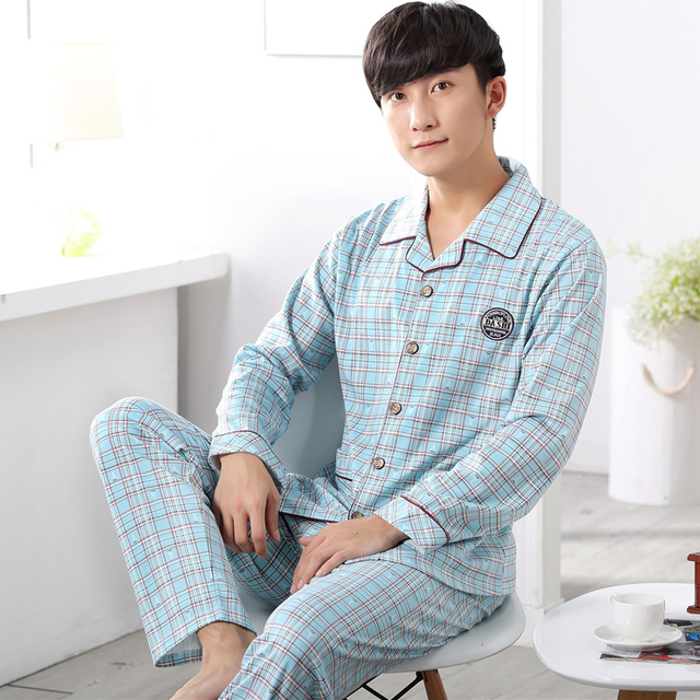 49319eeb6a Autumn New 100% Cotton Long Sleeve Men Sleepwear Masculine Pyjamas Sexy  Striped Men s Pajama Sets Lounge Casual Home Clothing