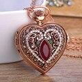 Coração Relógio de Bolso Colar de Pingente de Resina Para As Mulheres Homem turco Antigo Retro Cristais de Ouro Masculino Camisola Casaco Mujer Bijoux