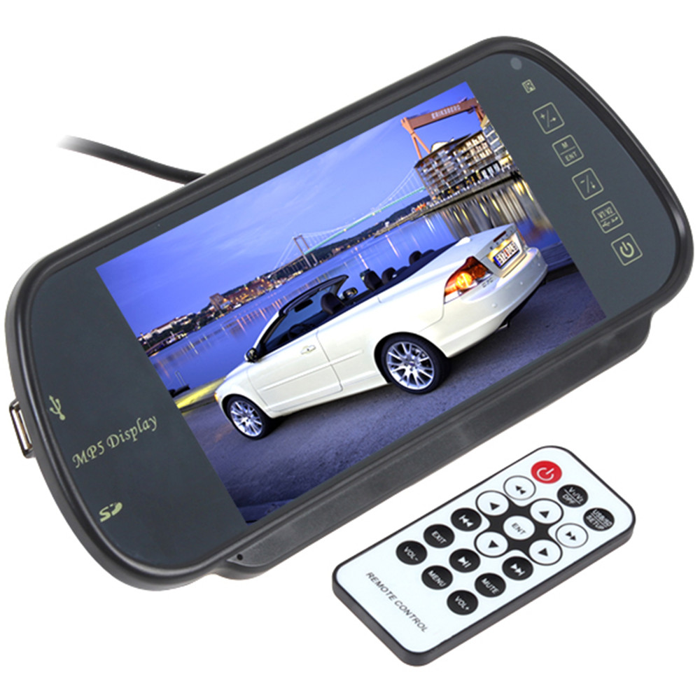 "Sale 7"" TFT LCD MP5 Car Rearview Mirror Monitor Screen USB , SD , 2-Ch Video Input For Rear View Reverse Camera"