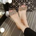 Лето новый алмаз обувь плоским рот прозрачный желе кристалл пляжная обувь пластиковые ботинки набирать женщин сандалии