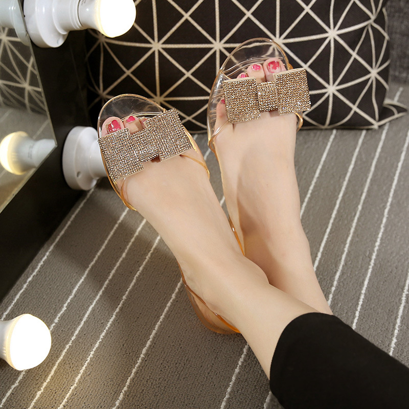 0a8580925bc summer new diamond shoes flat mouth transparent jelly crystal beach shoes  plastic shoes recruit women sandals-in Women s Sandals from Shoes