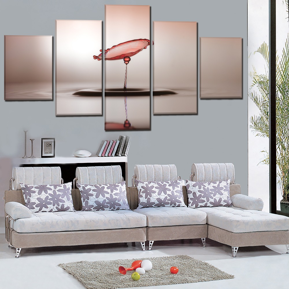 Canvas Pictures Home Decor HD Printed Poster 5 Piece Water Drop Art Reflection Paintings For Living Room Wall Art Framework in Painting Calligraphy from Home Garden