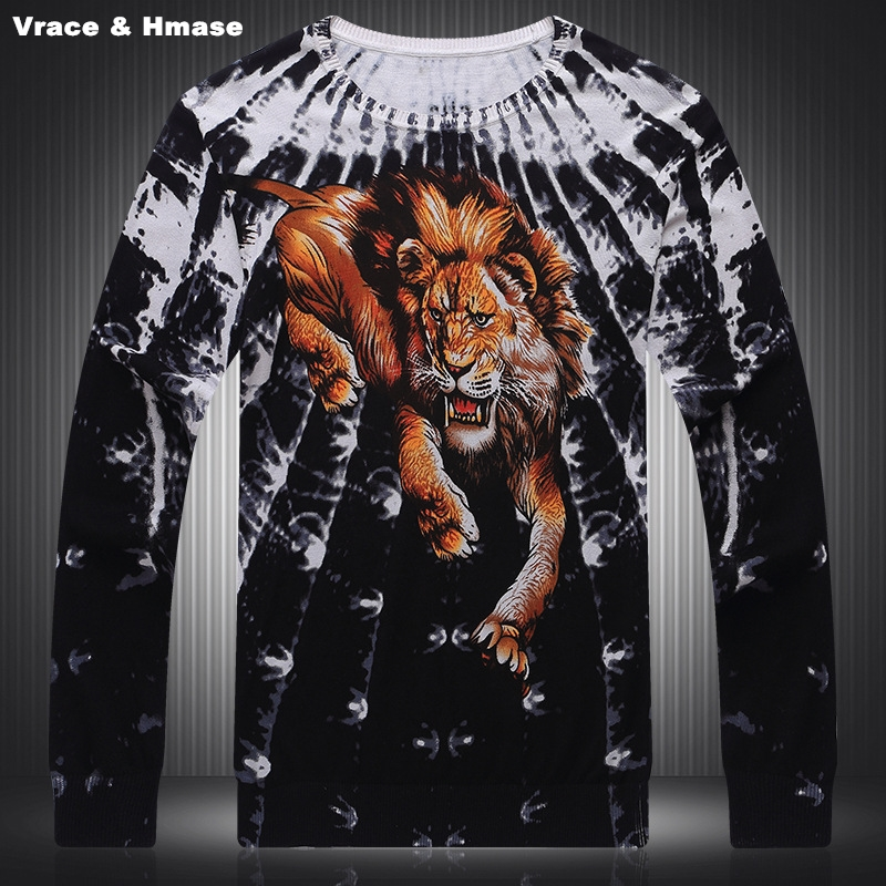 Personality Animal Lion Pattern 3D Printing Fashion Casual Sweater Autumn&Winter 2017 New Quality Soft Elastic Sweater Men M-3XL