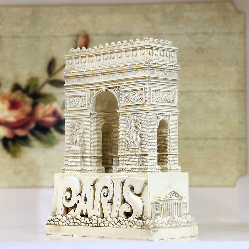 French Landmark Triumphal Arch Ornament Crafts Statue European Building Resin Model Figurine France Architecture Sculpture Home
