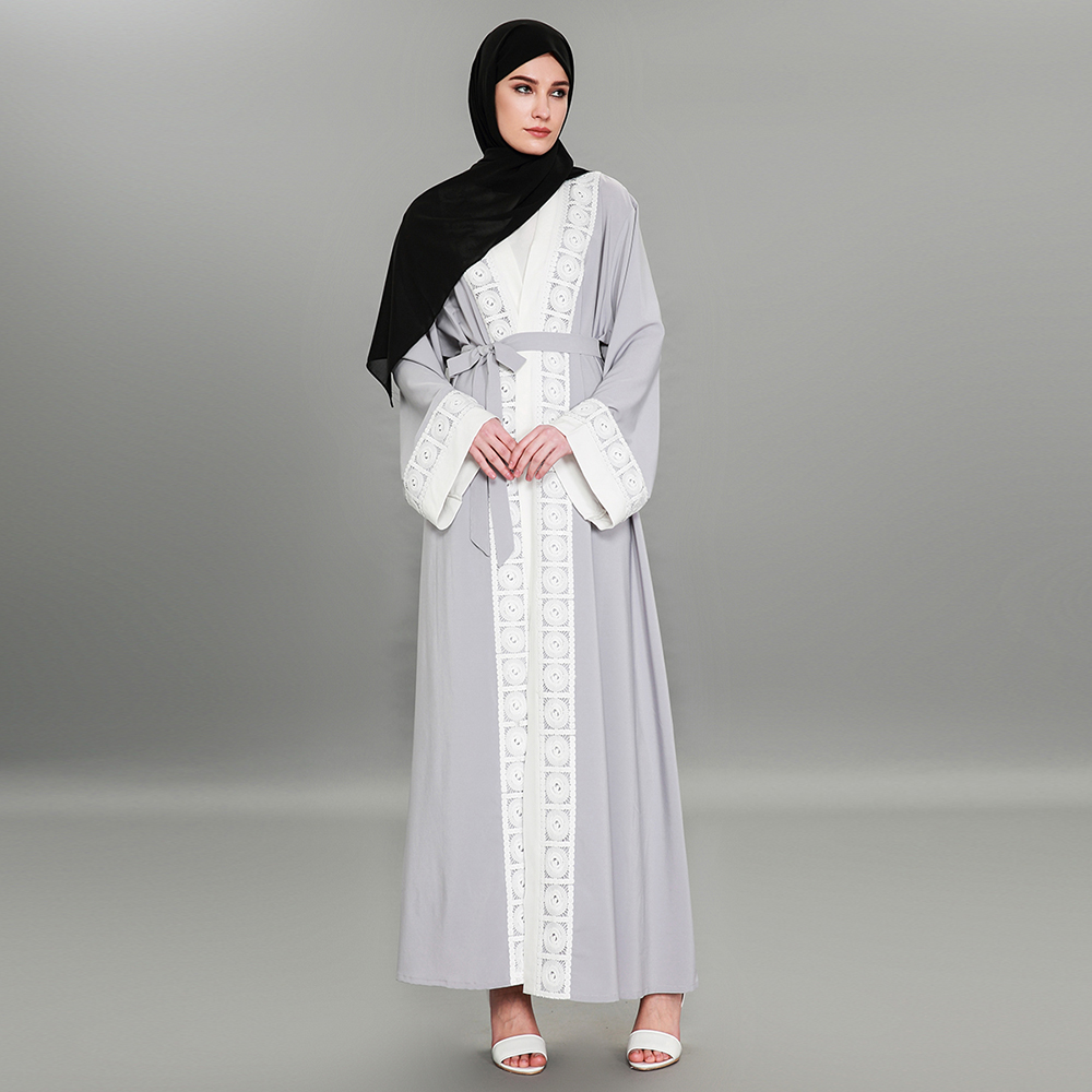 Muçulmano de Manga Nova Costura Rendas Moda Oriente Médio Robes Comprida Dubai Quente Cardigan Vestido Tamanho Grande 1575