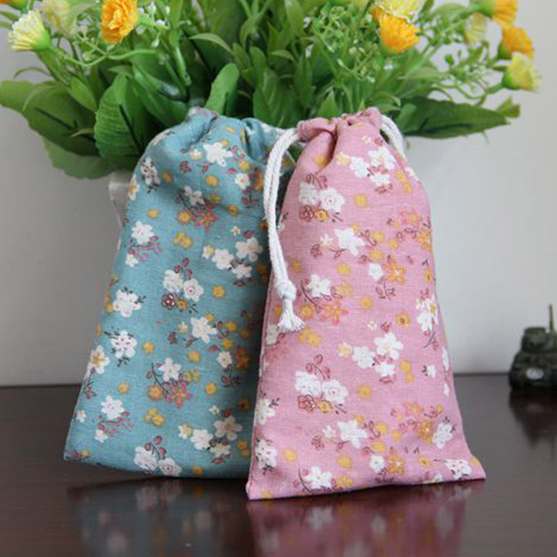 Pink Blue Flower Linen Jewelry Gift Pouch 8x10cm 9x12cm 11x14cm 13x17cm pack of 50 Birthday Party Candy Drawstring Bag